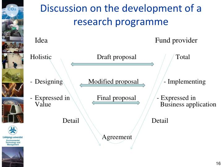 Discussion on the development of a research programme