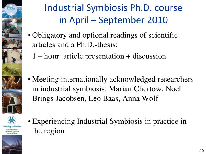 Industrial Symbiosis Ph.D. course