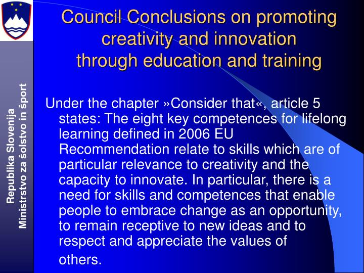 Council Conclusions on promoting creativity and innovation