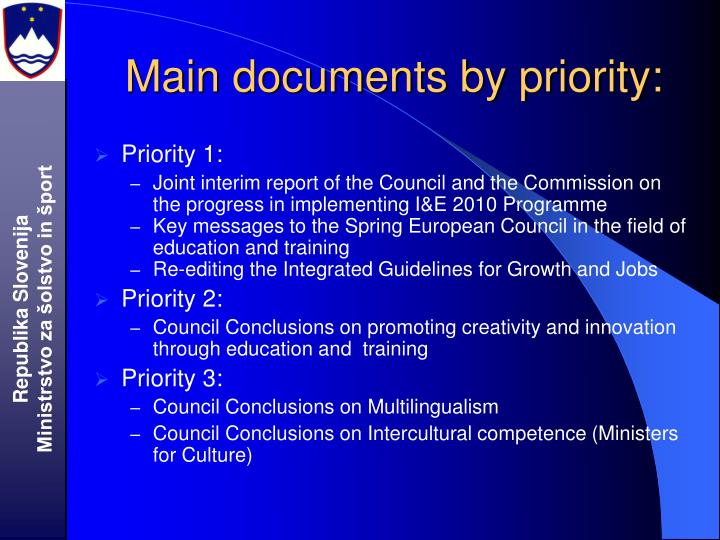 Main documents by priority