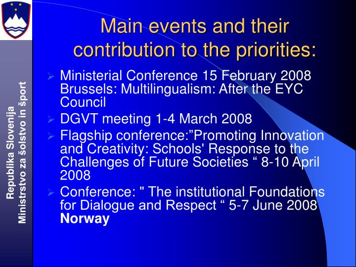 Main events and their contribution to the priorities: