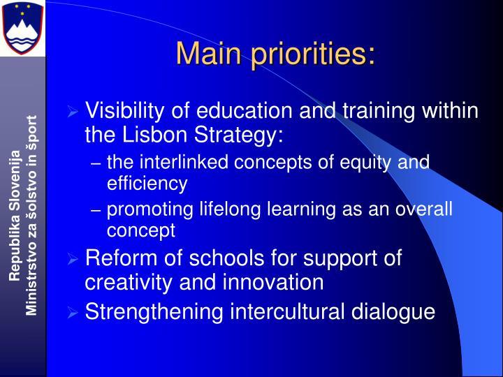 Main priorities