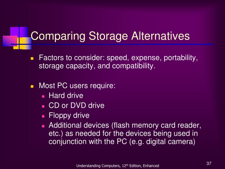 Comparing Storage Alternatives