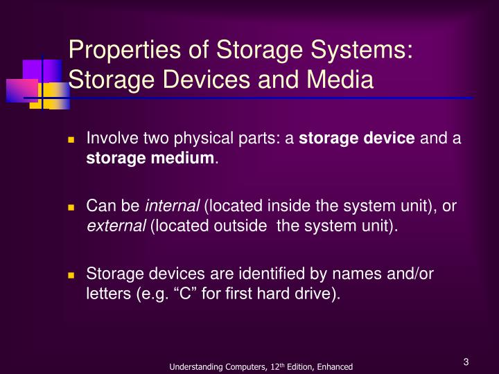 Properties of storage systems storage devices and media