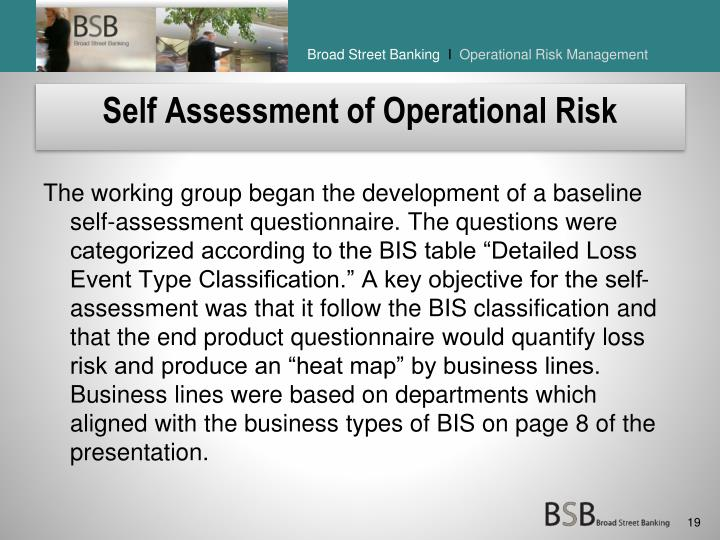 Self Assessment of Operational Risk
