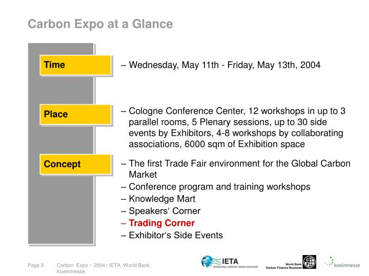 Carbon expo at a glance