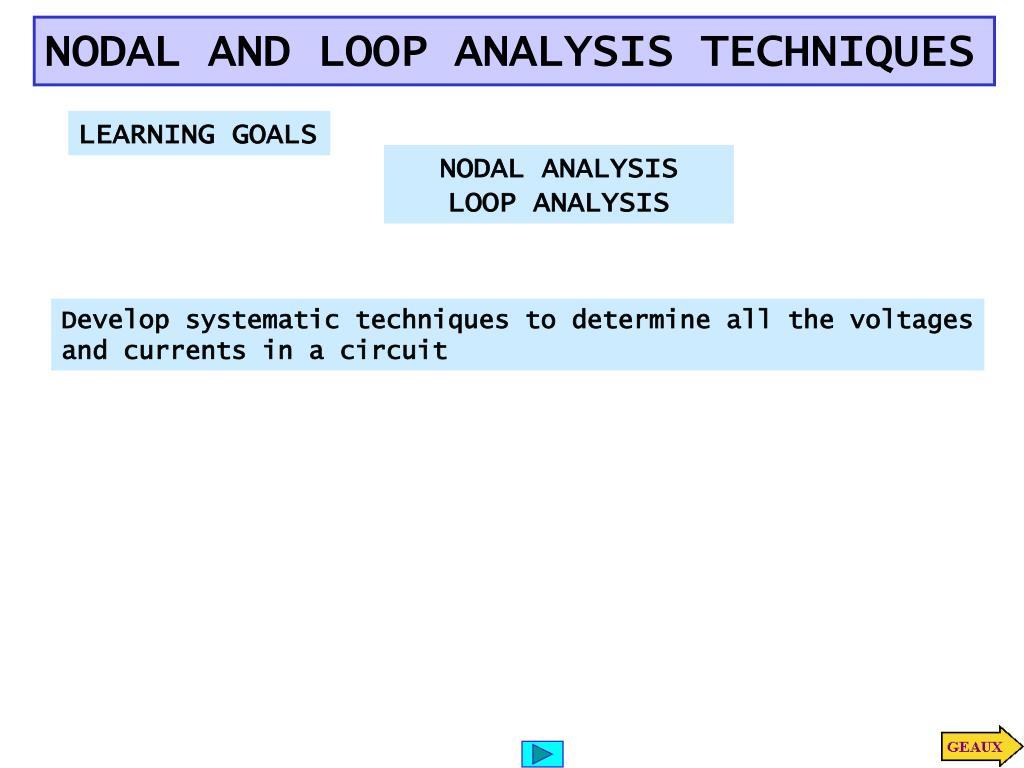 Ppt Nodal And Loop Analysis Techniques Powerpoint Presentation Circuit Slide1 N