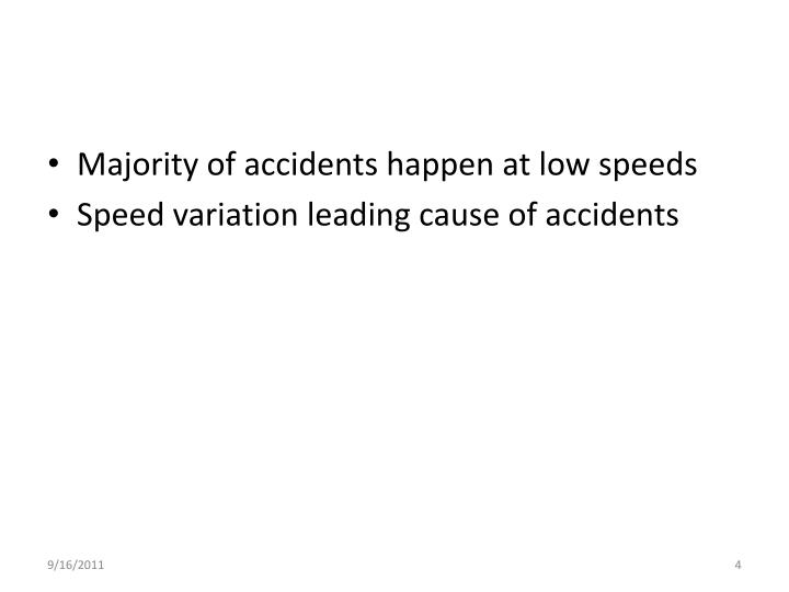 Majority of accidents happen at low speeds