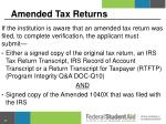 amended tax returns