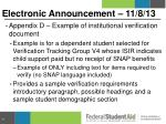 electronic announcement 11 8 134