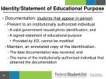identity statement of educational purpose