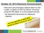 october 23 2013 electronic announcement