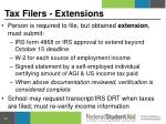 tax filers extensions
