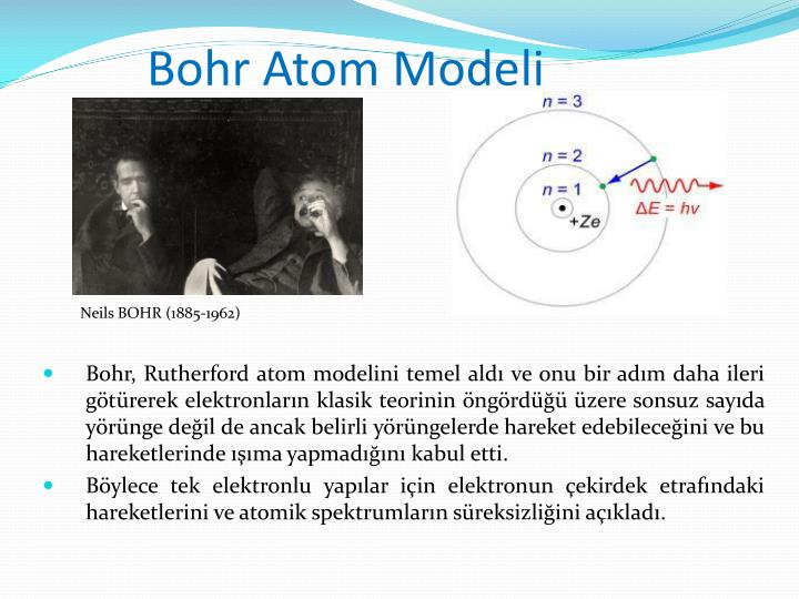 an analysis of the bohrs model of the atom The bohr model is a planetary model of the atom that explains things like line spectra neils bohr proposed that the electrons orbiting the atom could only occupy certain orbits, orbits in which the angular momentum satisfied a particular equation.