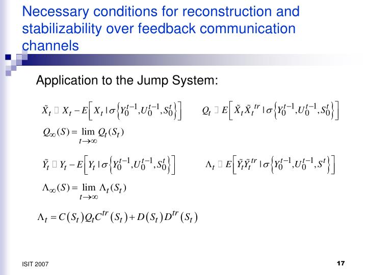 Necessary conditions for reconstruction and stabilizability over feedback communication channels