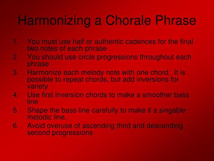 Harmonizing a Chorale Phrase