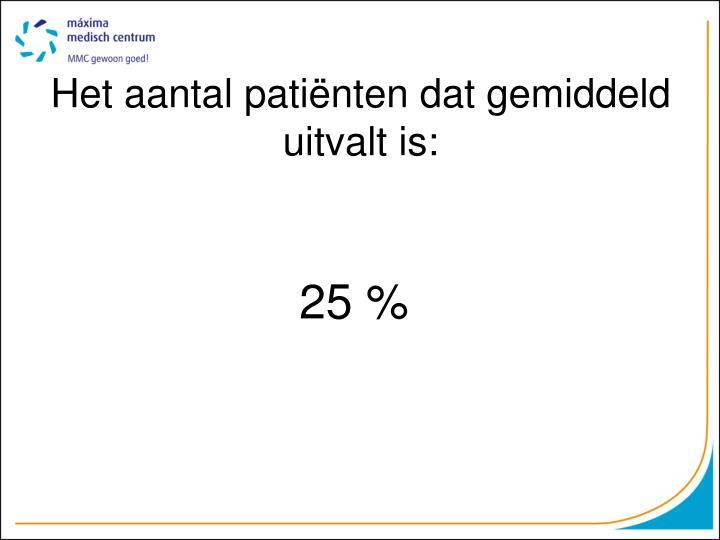 Het aantal patiënten dat gemiddeld uitvalt is:
