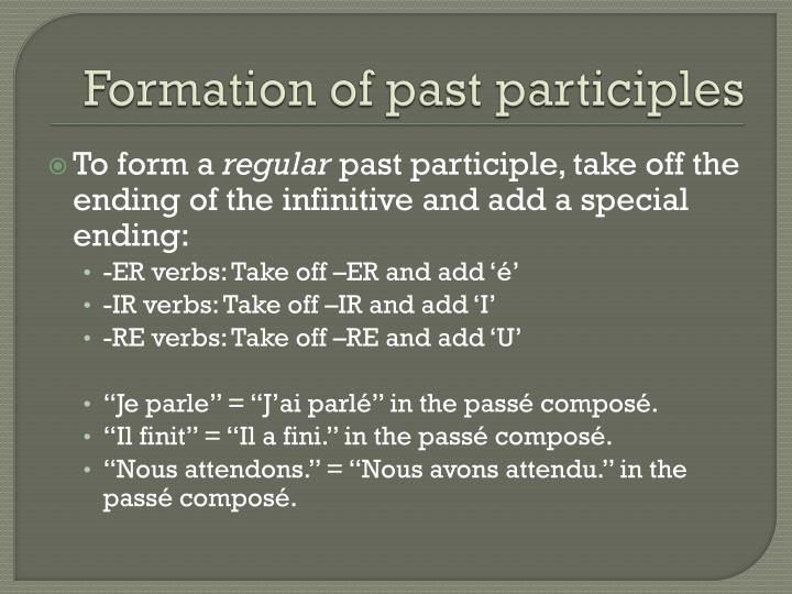 Formation of past participles