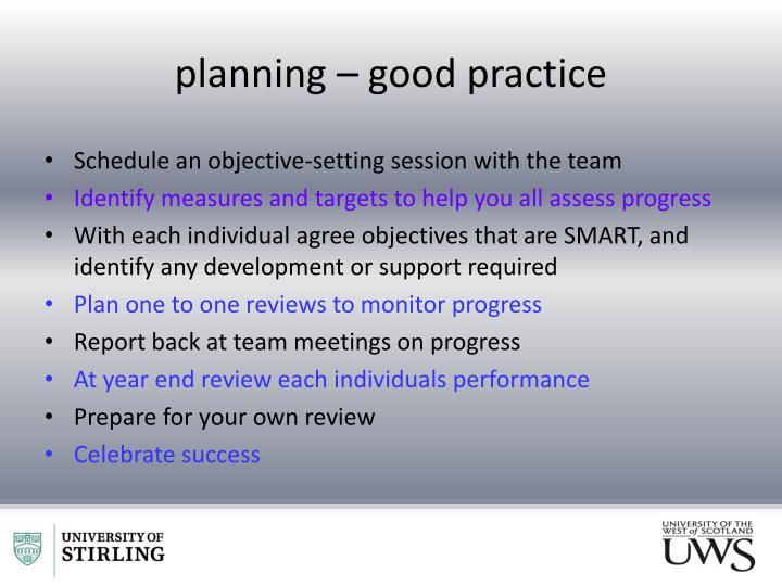 planning – good practice