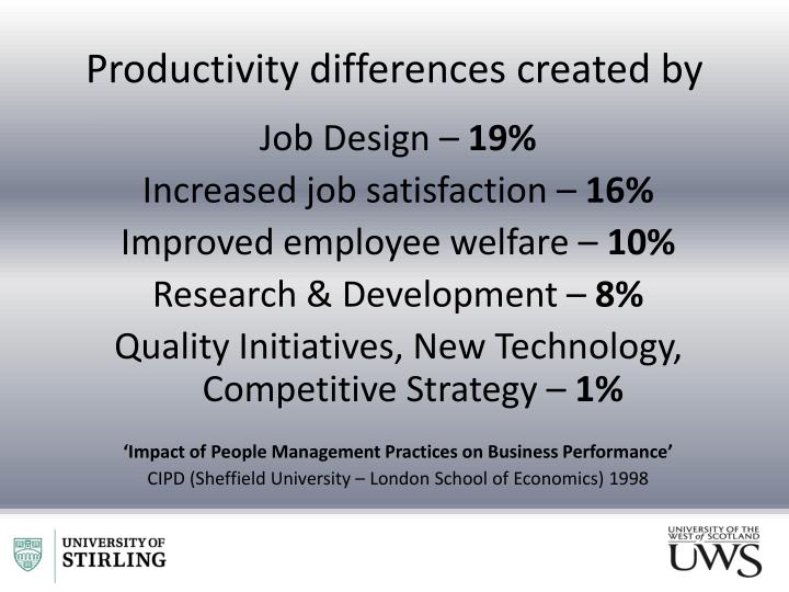 Productivity differences created by