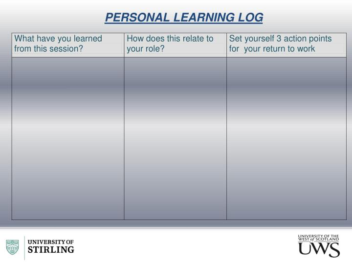PERSONAL LEARNING LOG