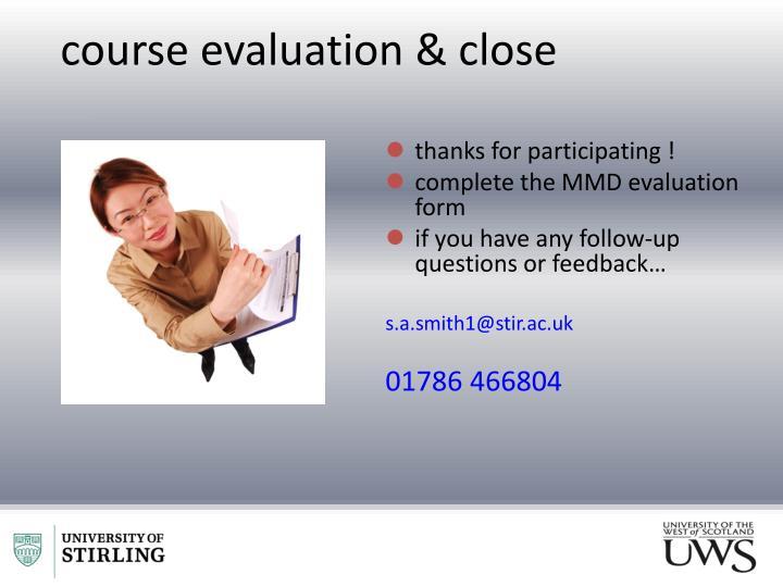 course evaluation & close