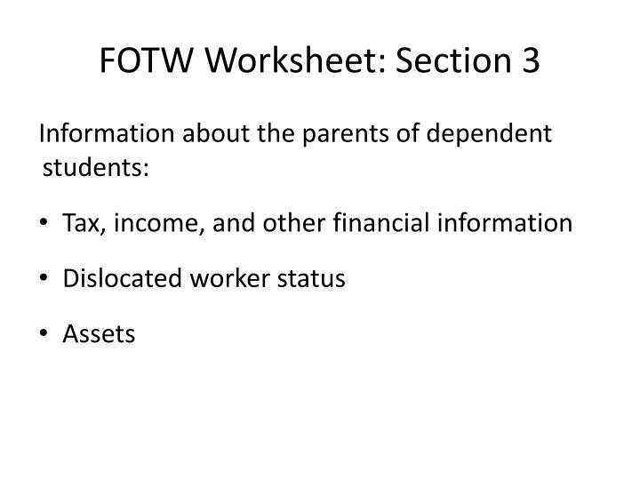 FOTW Worksheet: Section 3