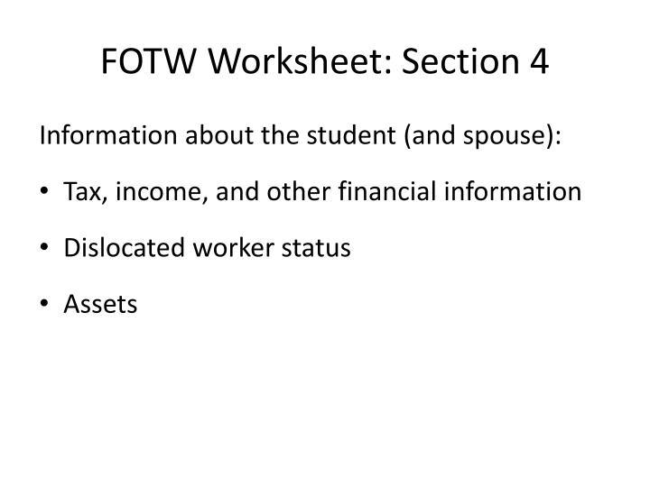 FOTW Worksheet: Section 4