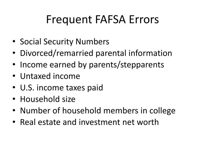 Frequent FAFSA Errors