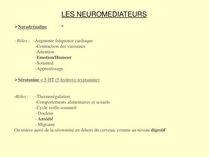 LES NEUROMEDIATEURS