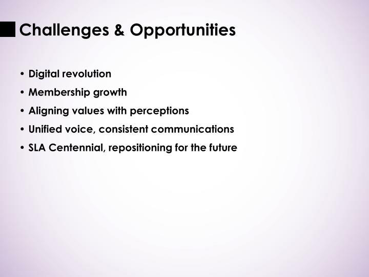 Challenges opportunities