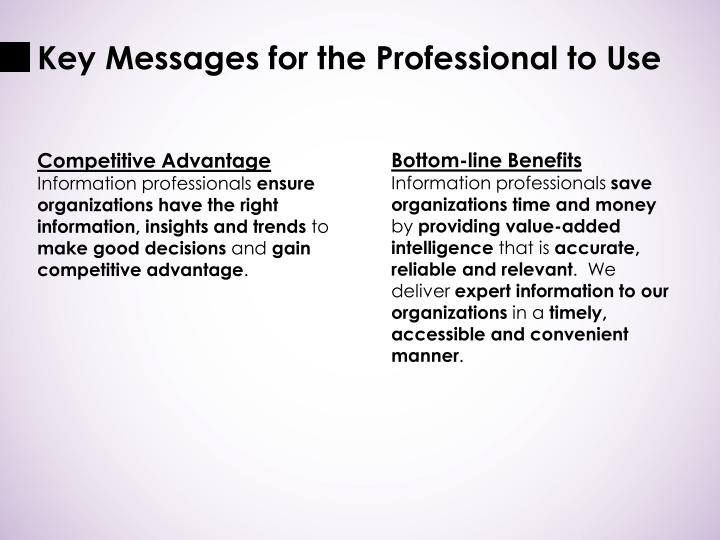 Key Messages for the Professional to Use