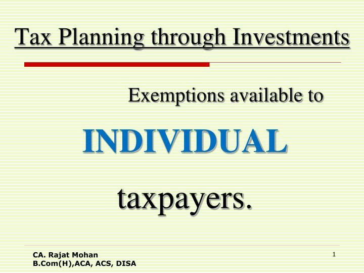 tax planning through investments n.