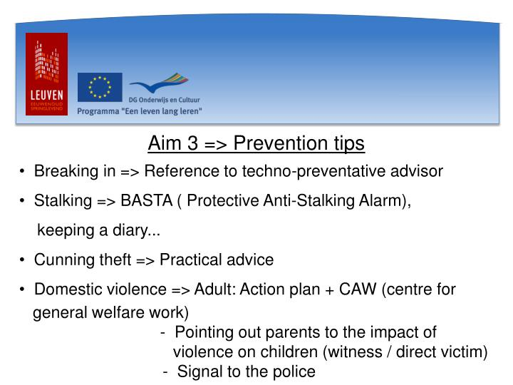 Aim 3 => Prevention tips