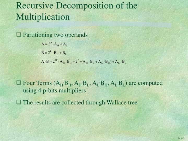 Recursive Decomposition of the Multiplication