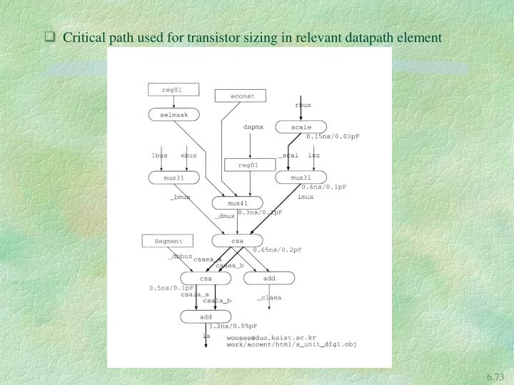 Critical path used for transistor sizing in relevant datapath element