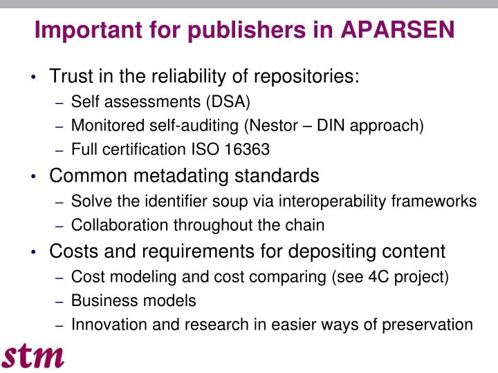 Important for publishers in APARSEN