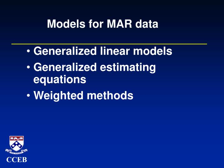 Models for MAR data