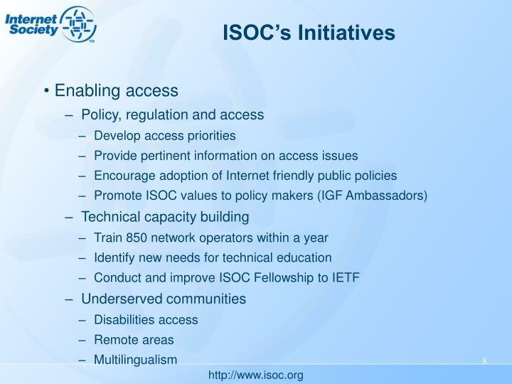 ISOC's Initiatives