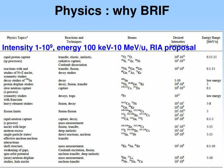 Physics : why BRIF