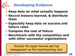 developing evidence