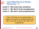 low maturity as a power hierarchy i