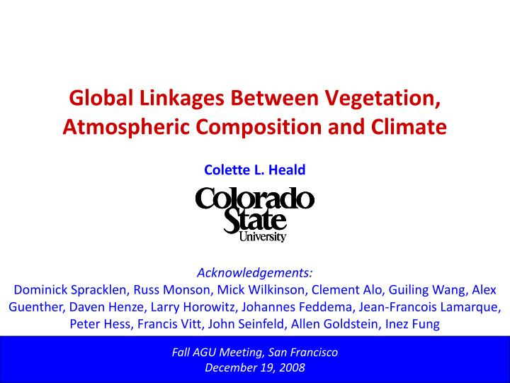 Global linkages between vegetation atmospheric composition and climate