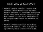 god s view vs man s view