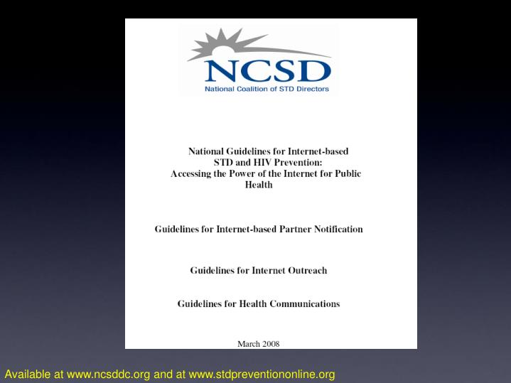 Available at www.ncsddc.org and at www.stdpreventiononline.org