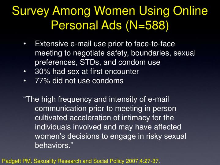 Survey Among Women Using Online Personal Ads (N=588)