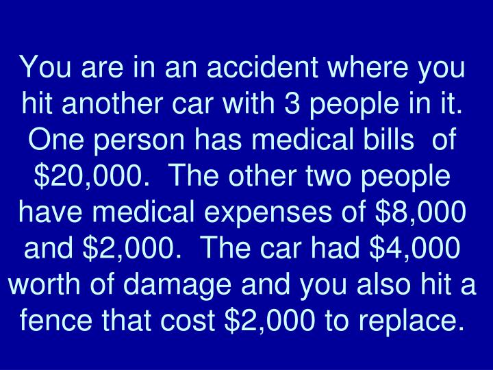 You are in an accident where you hit another car with 3 people in it.  One person has medical bills  of $20,000.  The other two people have medical expenses of $8,000 and $2,000.  The car had $4,000 worth of damage and you also hit a fence that cost $2,000 to replace.
