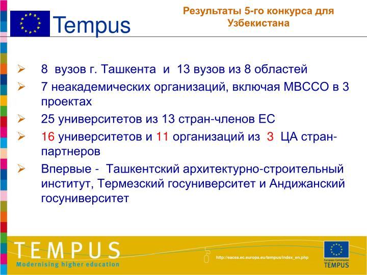 8  вузов г. Ташкента  и  13 вузов из 8 областей