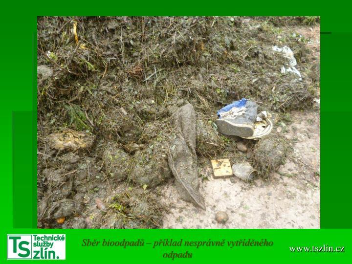 Sběr bioodpadů – příklad nesprávně vytříděného odpadu