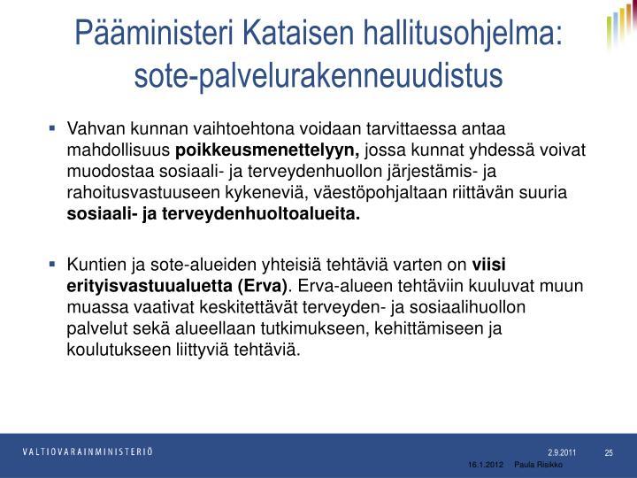 Pääministeri Kataisen hallitusohjelma: